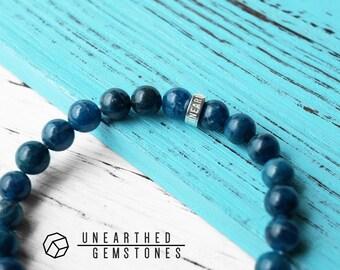 Blue Apatite Bracelet -Dark Blue Gemstone Bracelet, Stone Bracelet, Strength Bracelet, Healing Crystals and Stone Jewelry