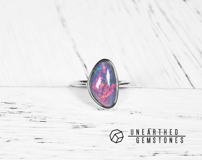 Size 7 Rainbow Opal Ring 17sep705