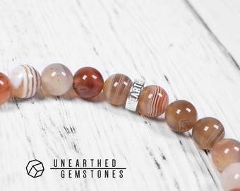 Orange Botswana Agate Bracelet - Orange Beaded Bracelet, Orange Jewelry, Statement Bracelet, Botswana Agate Jewelry