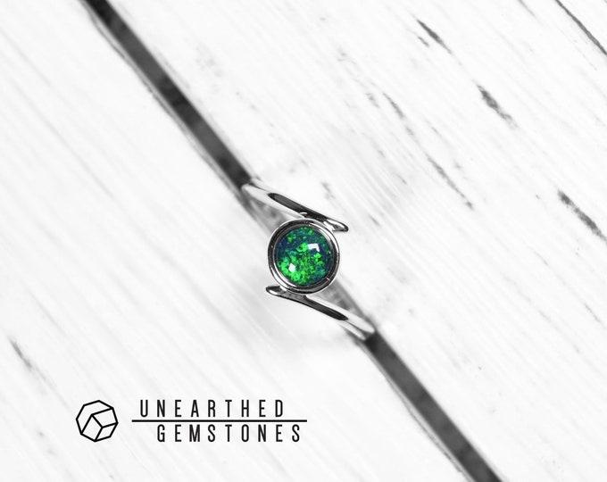 Size 8 Green Opal Ring 18mar801