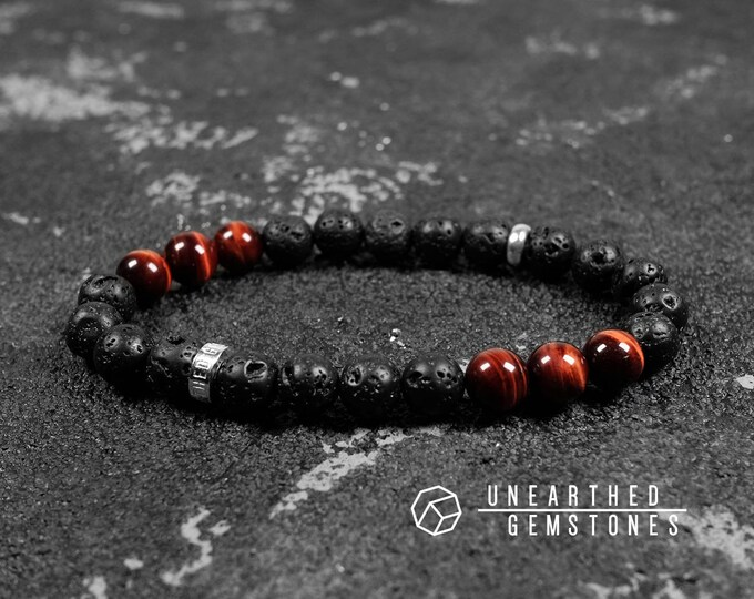 Paragon Collection | Lava Rock + Red Tiger's Eye Bracelet