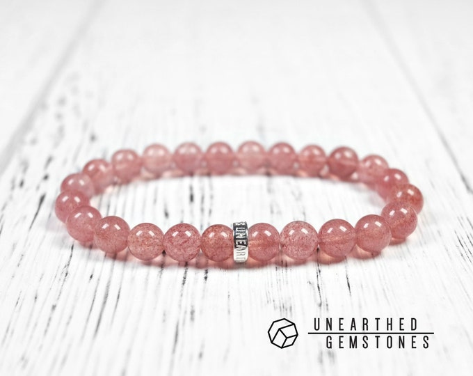 Genuine Strawberry Quartz Bracelet