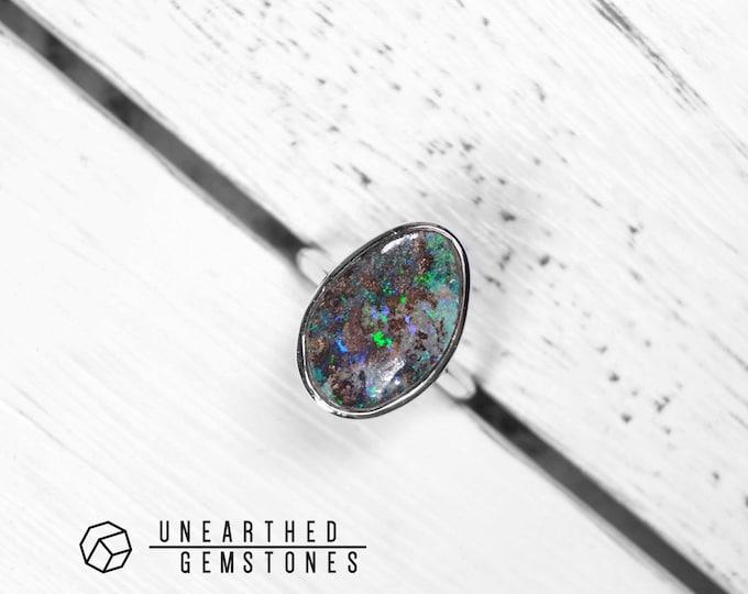 Size 6.5 Boulder Opal Ring 18jun6501