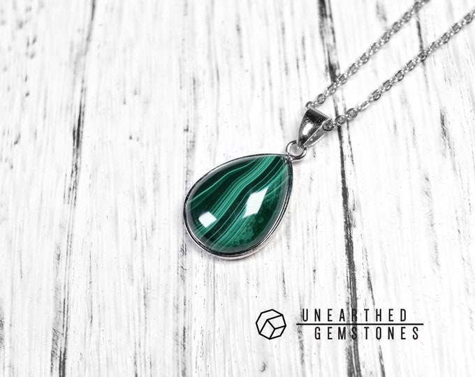 AAA Malachite Pear Necklace