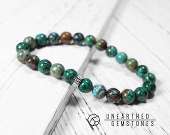 Natural Chrysocolla Bracelet - Men Bracelet, Mala Bracelet, Beaded Bracelet, Yoga Bracelet, For Him, Turquoise Bracelet