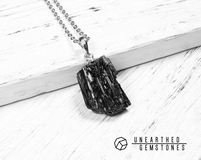 Raw Black Tourmaline Necklace