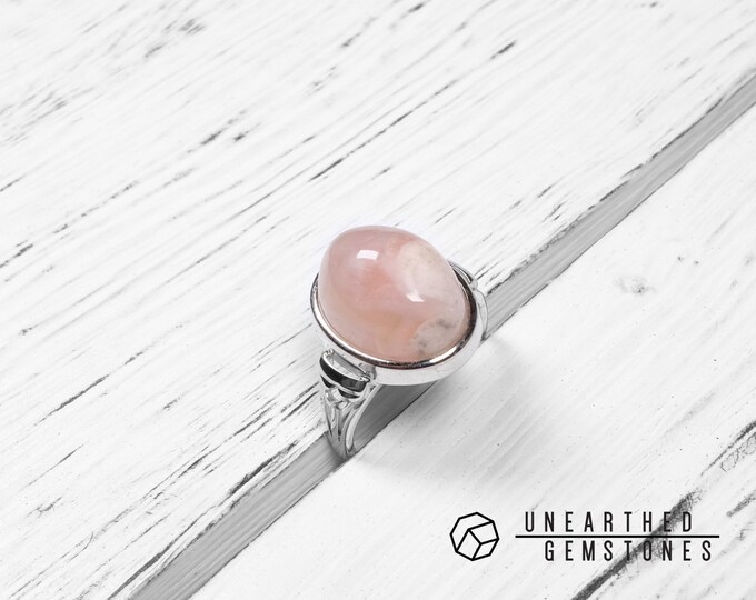 Adjustable Madagascar Flower Chalcedony Ring