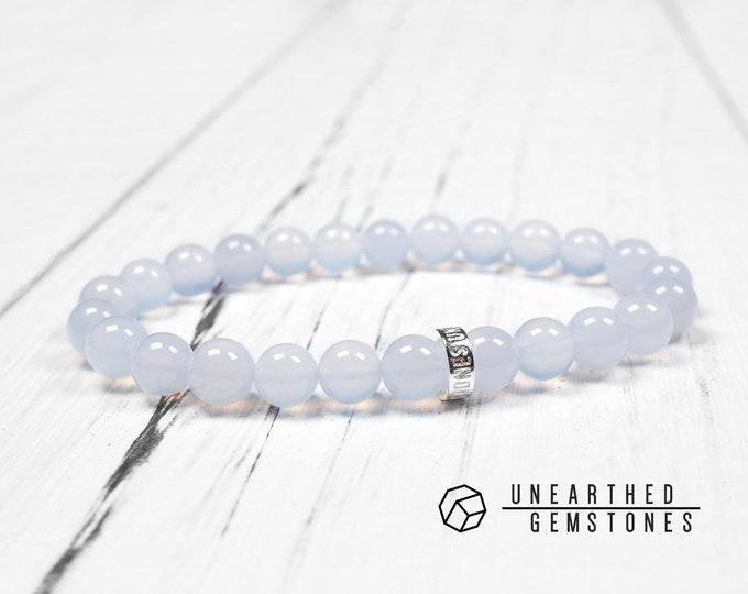 Natural Blue Chalcedony Bracelet