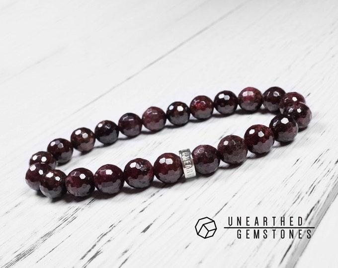 Faceted Red Garnet Bracelet