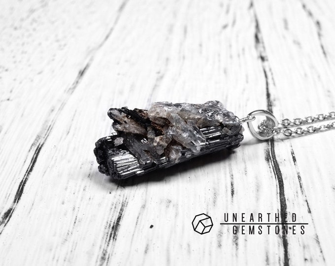 Black Tourmaline With Clear Quartz Necklace