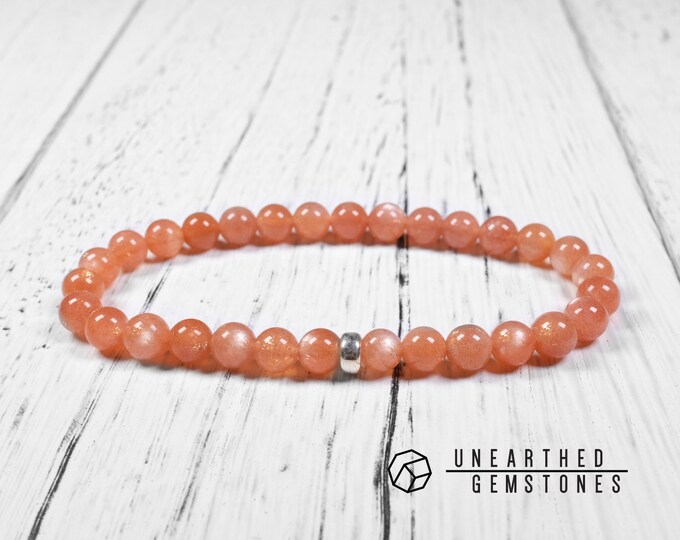 6mm Peach Moonstone Bracelet