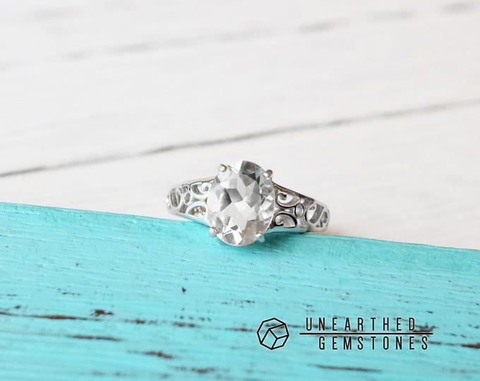 Adjustable White Topaz Ring