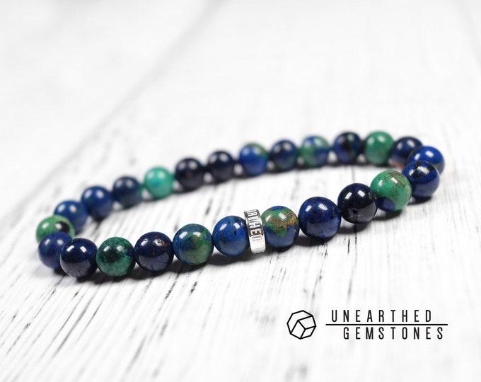 Azurite Malachite Bracelet -Rare Stone Bracelet, Unique Men Bracelet, Gift For Husband, Stone Beaded Bracelet, Blue Green Bracelet
