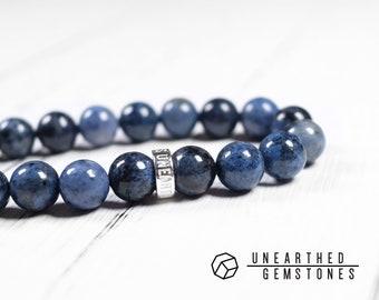 Dumortierite Bracelet - Friendship Bracelet, Dark Blue Jewelry, Brother Gifts, Men Gemstone Bracelet, Stretch Bracelet