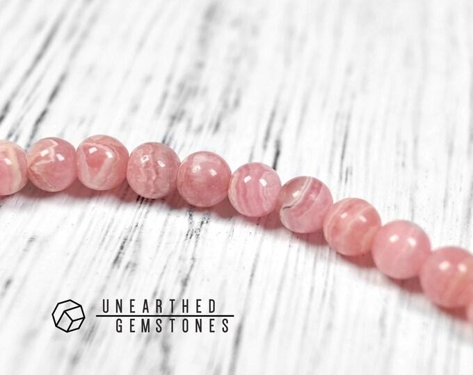 6mm Rhodochrosite Bracelet - Pink Crystal Bracelet, Love Bracelet, Gemstone Beaded Bracelet, Yoga Bracelet Dainty Bracelet