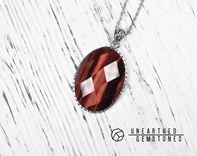 Faceted Red Tiger's Eye Necklace