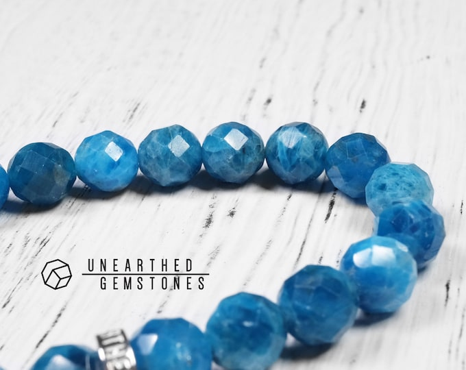 Faceted Ocean Blue Apatite Bracelet