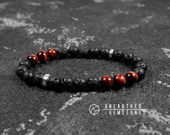 Paragon Collection | Lava Rock + Red Tiger's Eye Bracelet