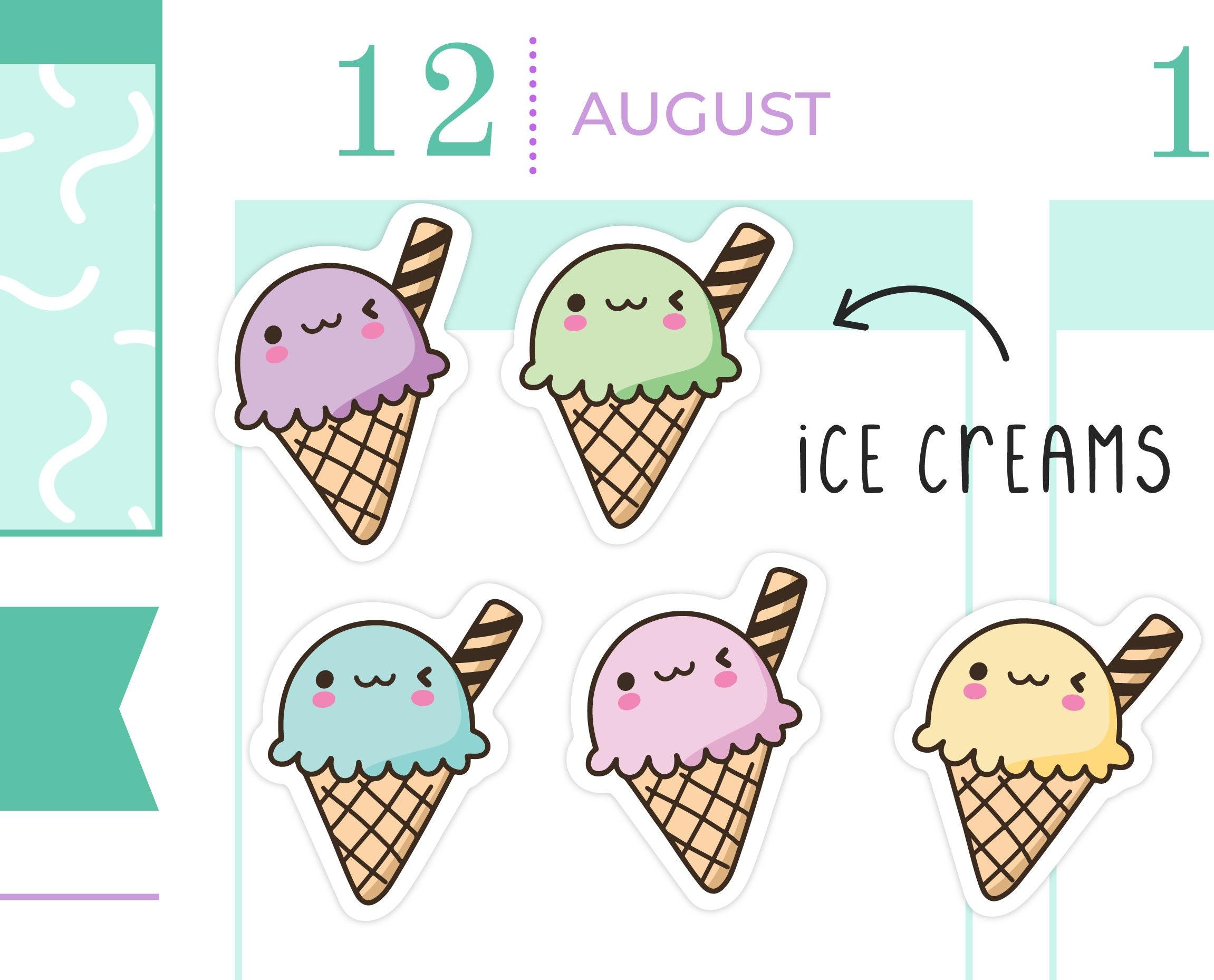 Ice Cream Cones Removable Matte Sticker Sheets Set