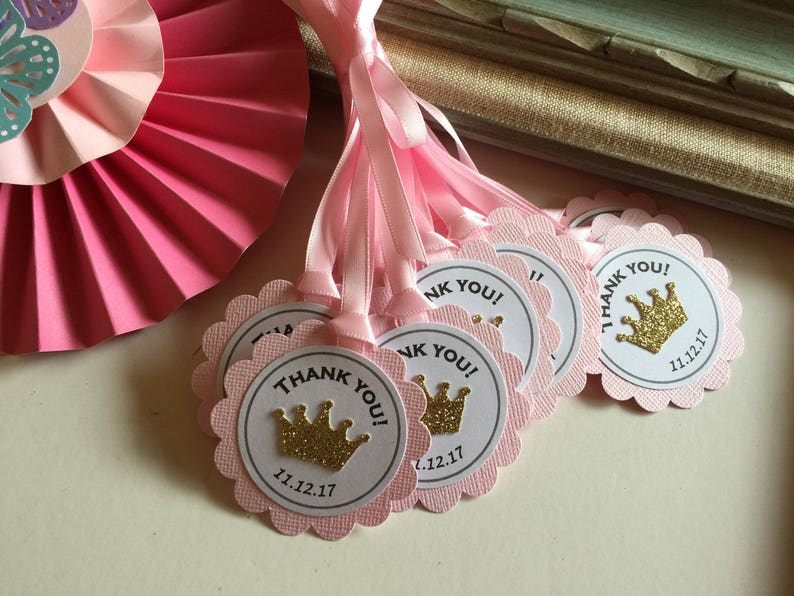 Princess Prince Crown Birthday Gift Tag Baby Shower Favor Tags