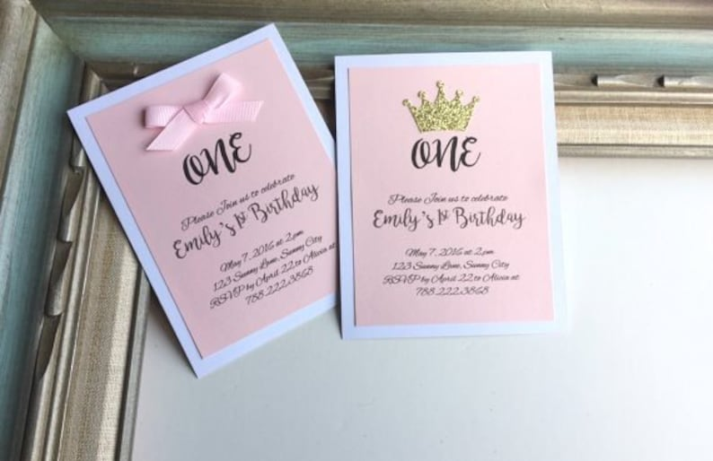One Year Old Crown Birthday Invitation Card Girl Bow Ribbon