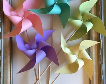Pastel Spinning Paper Pinwheels Large Rainbow Centerpieces Easter Wedding Baby Shower Bridal Shower Birthday Party Prop Cake Smash Decor 10
