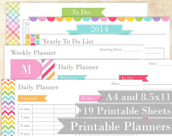 planning printables rainbow daily planner weekly planner etsy