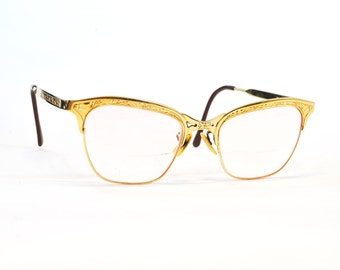 9f679d970ad Vintage Glasses - Vintage 1940s-1950s 10k Yellow Gold Gaspari Designer Cat  Eye Glasses