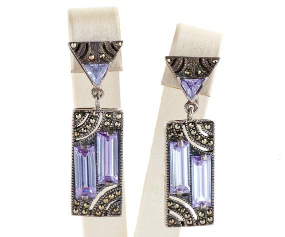 Vintage Earrings - Vintage Purple Stone & Marcasit