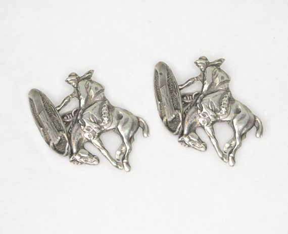 Vintage Cuff Links - Vintage Sterling Silver Cowbo
