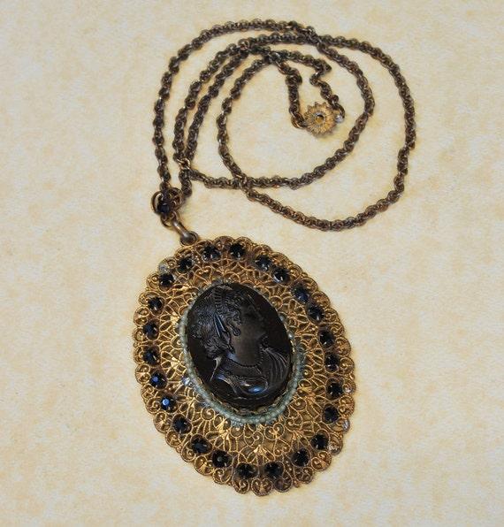 Antique Necklace - Antique 1880's Vulcanite Carved