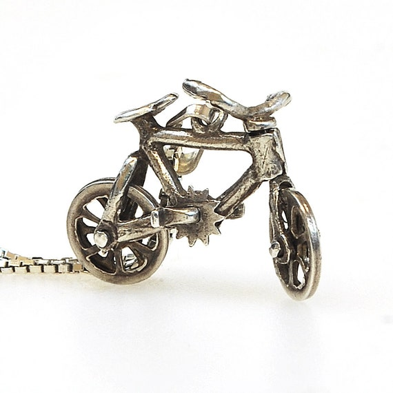 Antique Necklace - Antique Sterling Silver Bicycle