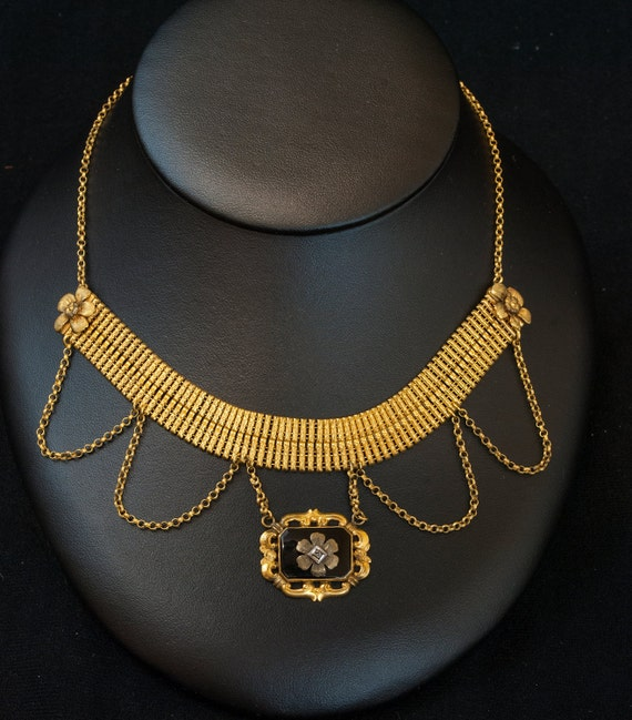 Victorian Necklace - Victorian Gold Filled Diamond