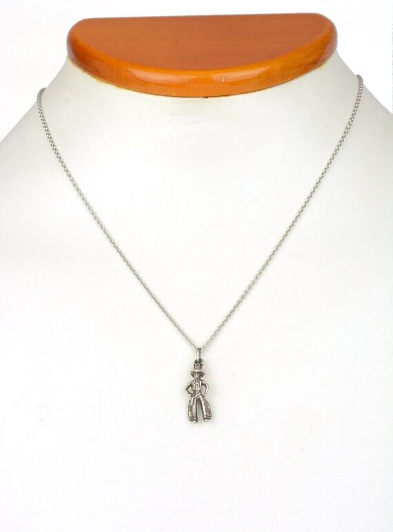 Vintage Necklace - Vintage Sterling Silver Cowboy