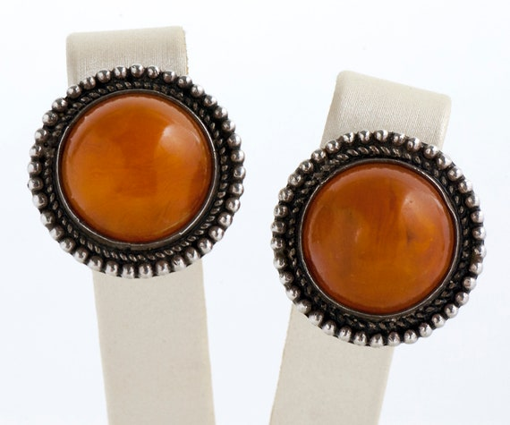 Vintage Earrings - Vintage Costume Orange Stone Ca