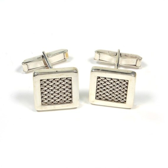 Vintage Cuff Links - Vintage Sterling Silver Cuff