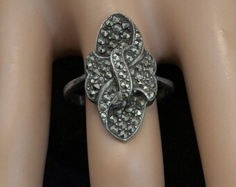 Vintage Ring - Vintage Sterling Silver and Marcasite Ring