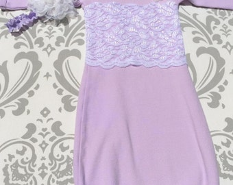 361d6c6dd Lace Baby Gown,Take Home Outfit, Newborn Gown,Baby Girl Layette,Lavender  Baby Gown, Shabby Chic Newborn, Purple Newborn Outfit, Baptism Gown
