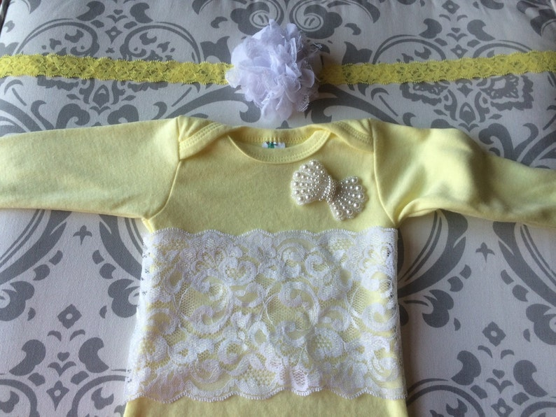 Lace Baby Gown,Take Home Outfit Newborn Gown,Baby Girl Layette,yellow Baby Gown Yellow Newborn Outfit Baptism Gown Shabby Chic Newborn