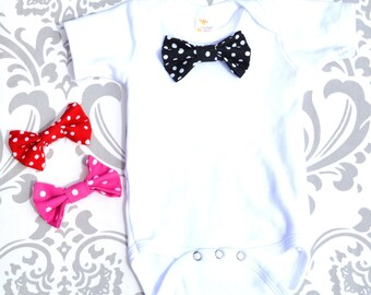 Baby Boy Bowtie Onesie with Interchangeable snap on polka dot bowtie