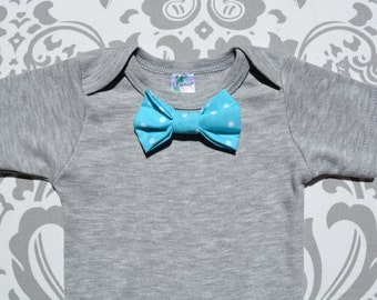 Baby Boy Bowtie Onesie with Interchangeable snap on bowtie