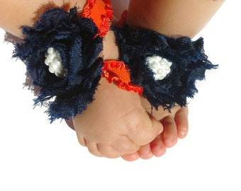 Chicago Bears Baby Barefoot Sandals,Chic Little Feet,Orange and Navy Barefoot Sandal,NFL Baby Shoes,Navy Baby Shoes,Navy Flower Girl Shoes