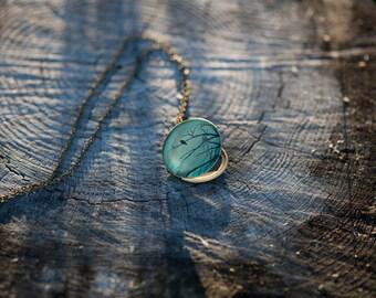 Bird Silhouette Locket Necklace