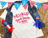 Patriotic 4th July Mockup Stars Stripes Red Blue Gray Woman T-shirt fireworks american boots denim skirt modern mom young woman photografy