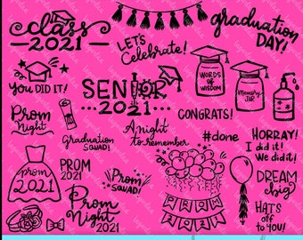 Class of 2021 Senior Photo overlay Prom Hand drawn Doodles Graduation PNG Clipart Digital files for sublimation cut files vector decoration