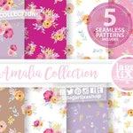 Watercolor Floral Patterns, Digital paper, SEAMLESS, wedding bouquet, arrangement, hot pink flowers, bridal shower, for blog banner