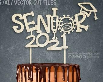 Senior 2021 Graduation Cut Digital File for Cake Topper, Sublimation, Funny Virus, Syringe facemask vaccine cake decorations, svg png vector