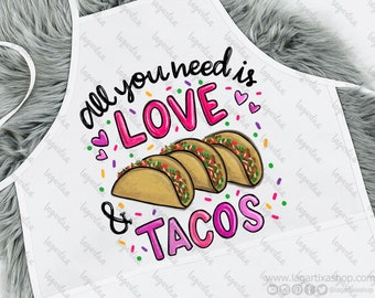 All you need is Love and Tacos Mexican Quotes Lettering Sublimation PNG Design PNG Image modern lettering hand drawn doodles