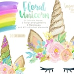 Glitter and Watercolor Unicorn floral Horn Clip art, Whimsical, rainbow,  hand painted, mint, purple, pink, blue, gold, girly party,