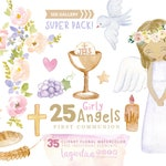 Watercolor Floral Girl Angel First Communion, hand painted, Clipart, Clip art, Holy Spirit, Event Planner, Decor, Religious, Christening